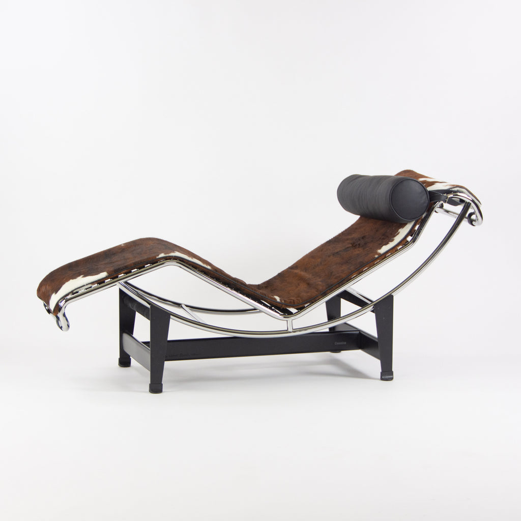 SOLD Cassina Le Corbusier LC4 Chaise Lounge Chair Black Leather Pony Hide New Open Box