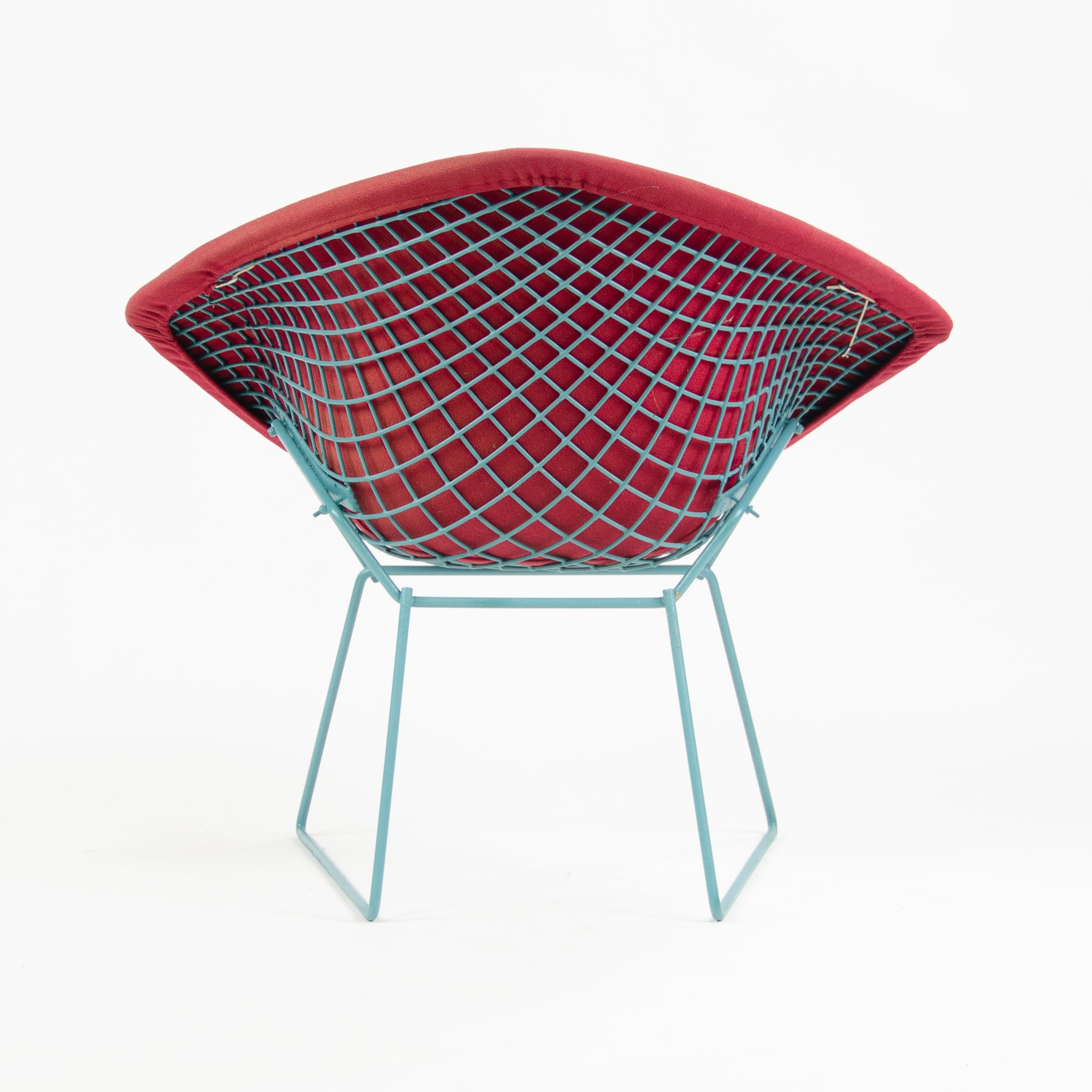 SOLD Knoll International Harry Bertoia Wire Diamond Chair Blue Frame Vintage