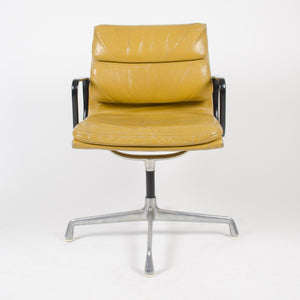 SOLD Pair Eames Herman Miller Soft Pad Aluminum Chair Cognac Leather w Girard Fabric