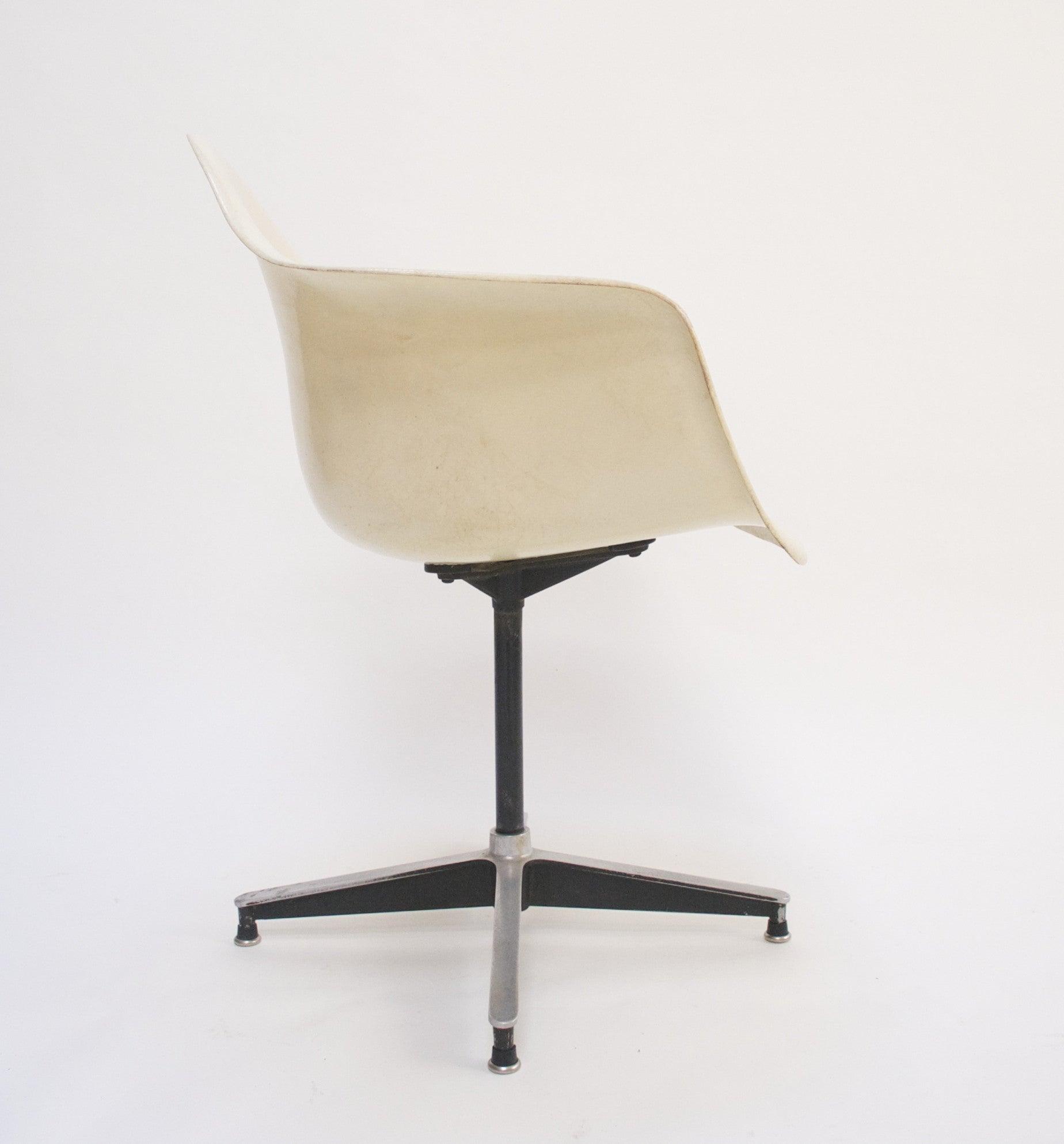 SOLD Eames Herman Miller Ivory Fiberglass Shell Chair Rare Base Arm Shell 1955 PSC