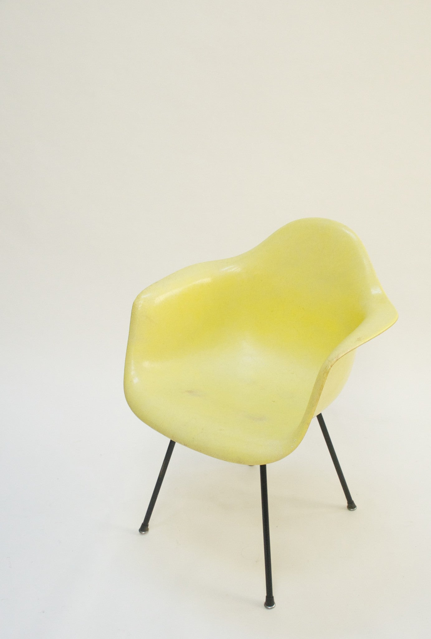 SOLD Yellow Eames Herman Miller Fiberglass Arm Shell Chair Early 1954
