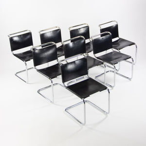 SOLD Marcel Breuer B33 Dining Chairs Set of 8 Spoleto Leather Knoll 1970's