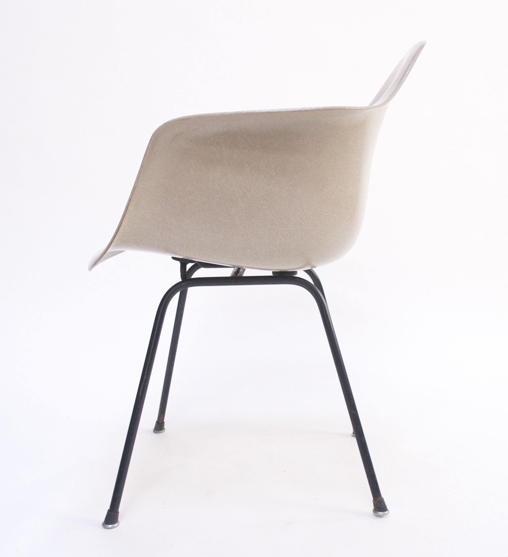 SOLD Greige Eames Herman Miller Fiberglass Arm Shell Chair 1954
