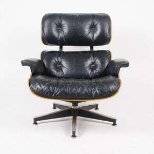 SOLD 1970's Herman Miller Eames Lounge Chair & Ottoman Rosewood 670 671 Black Leather