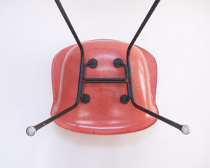 SOLD Red Eames Herman Miller Fiberglass Arm Shell Chair Early 1954