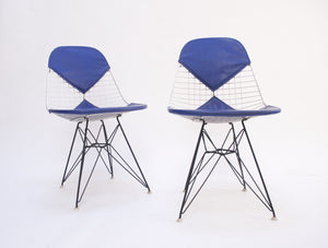 SOLD Eames Pair of Herman Miller Eiffel Tower Wire Bikini Side Shells Blue / White 60's
