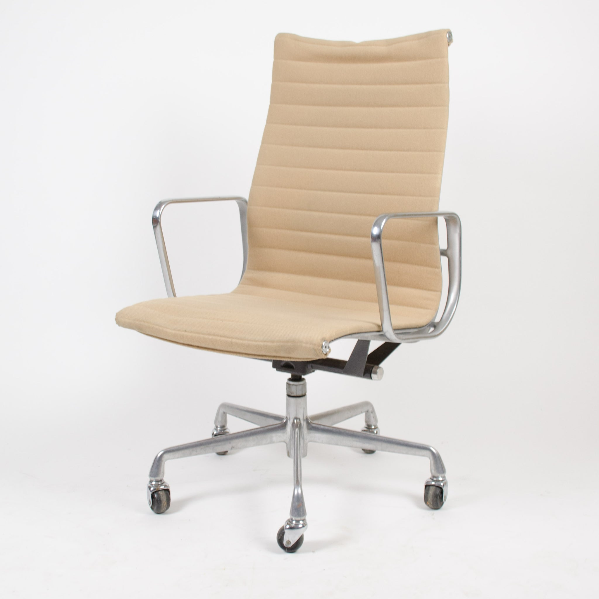 SOLD Herman Miller Eames Aluminum Group High Back Desk Chair Tan Hopsack 90's