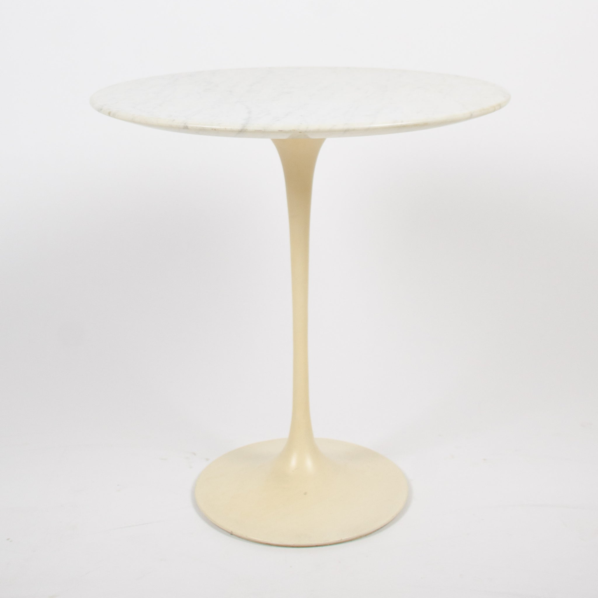 SOLD Eero Saarinen Knoll Tulip Side Table 1972 White Marble Labelled Original