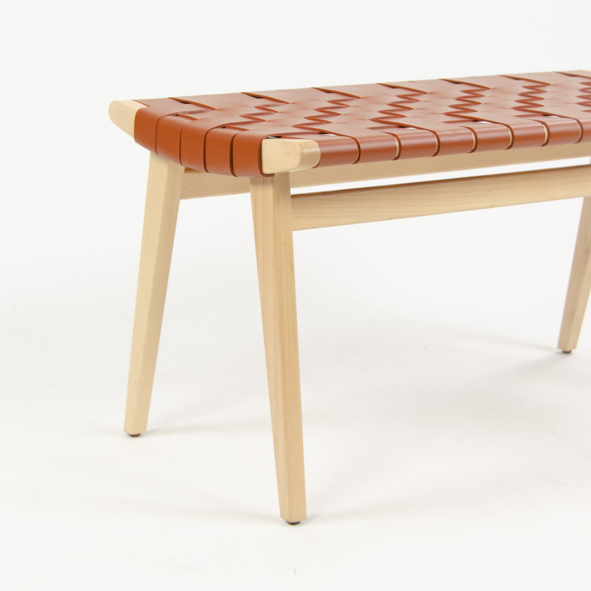 SOLD Knoll Studio Custom Jens Risom Stool with Red / Rust Leather Webbing NOS