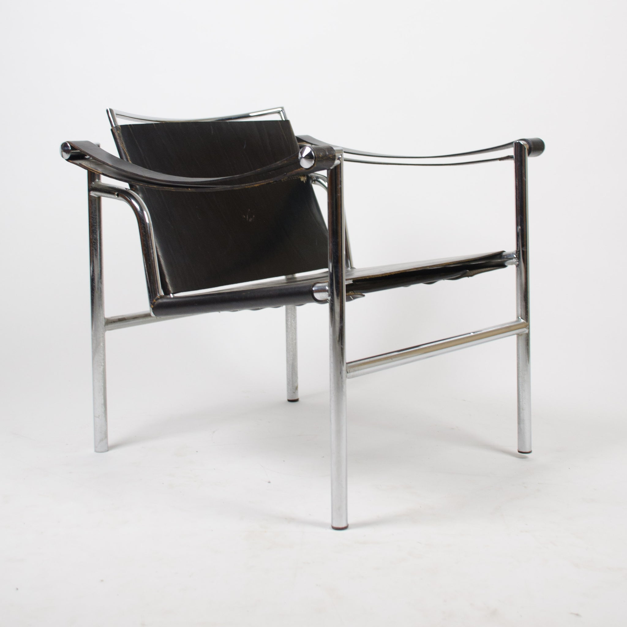 1960's Vintage Pair Le Corbusier LC1 Stendig Basculant Chairs Thonet Cassina