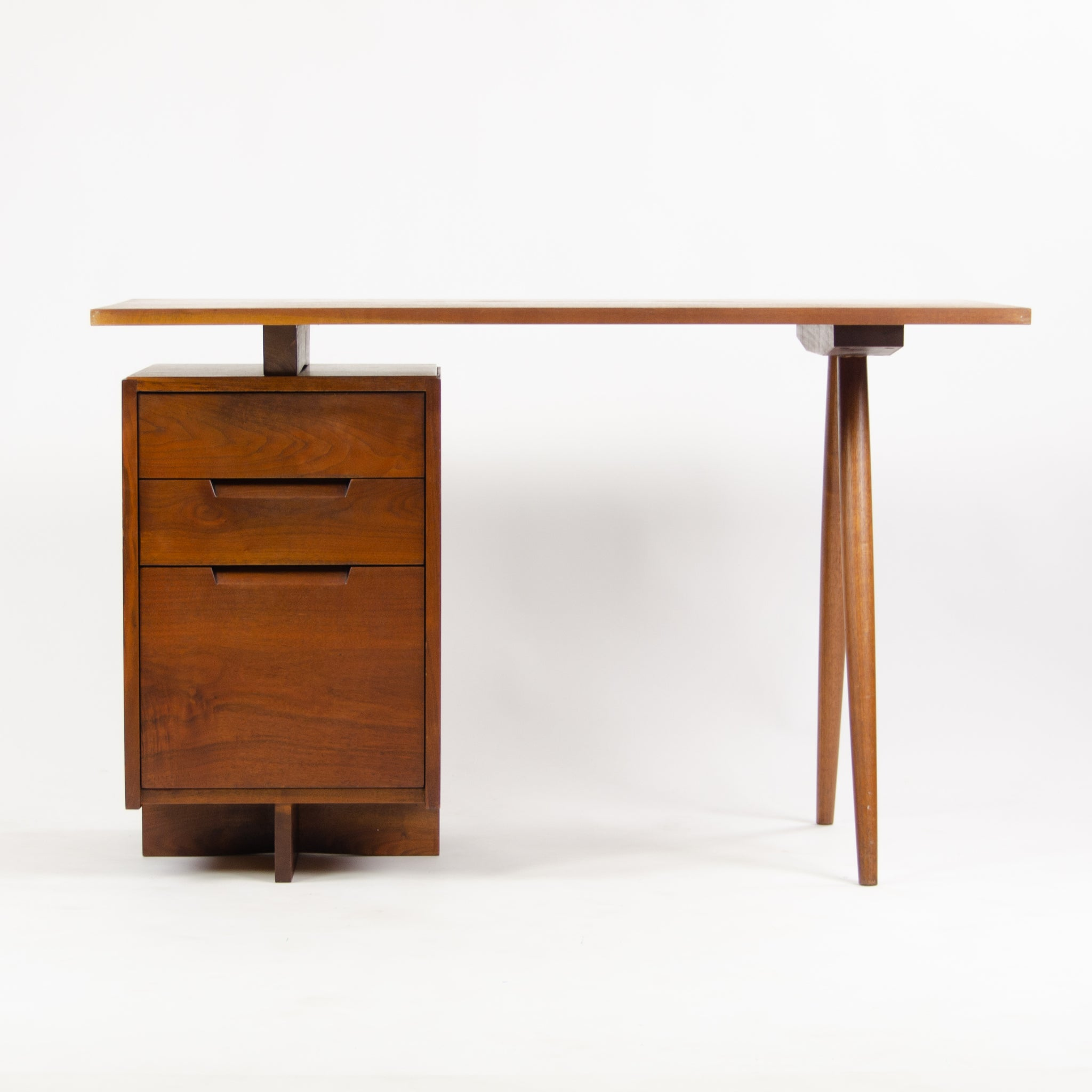 1956 George Nakashima Studio Single Pedestal Black Walnut Desk w/ Spindle Legs