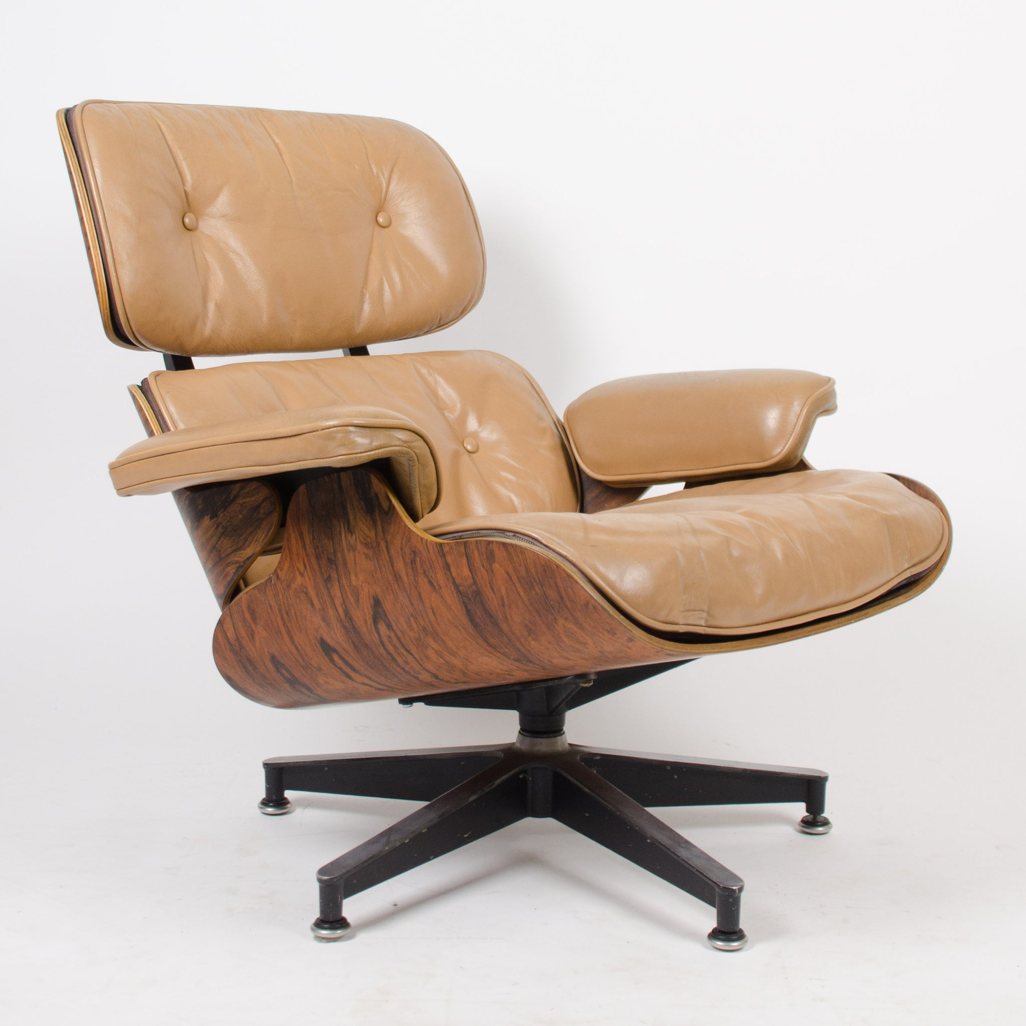 SOLD 1960's Herman Miller Eames Lounge Chair & Ottoman Rosewood 670 671 Tan Leather