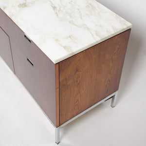 SOLD Florence Knoll Vintage Rosewood and Marble Credenza Cabinet Sideboard Finished Back