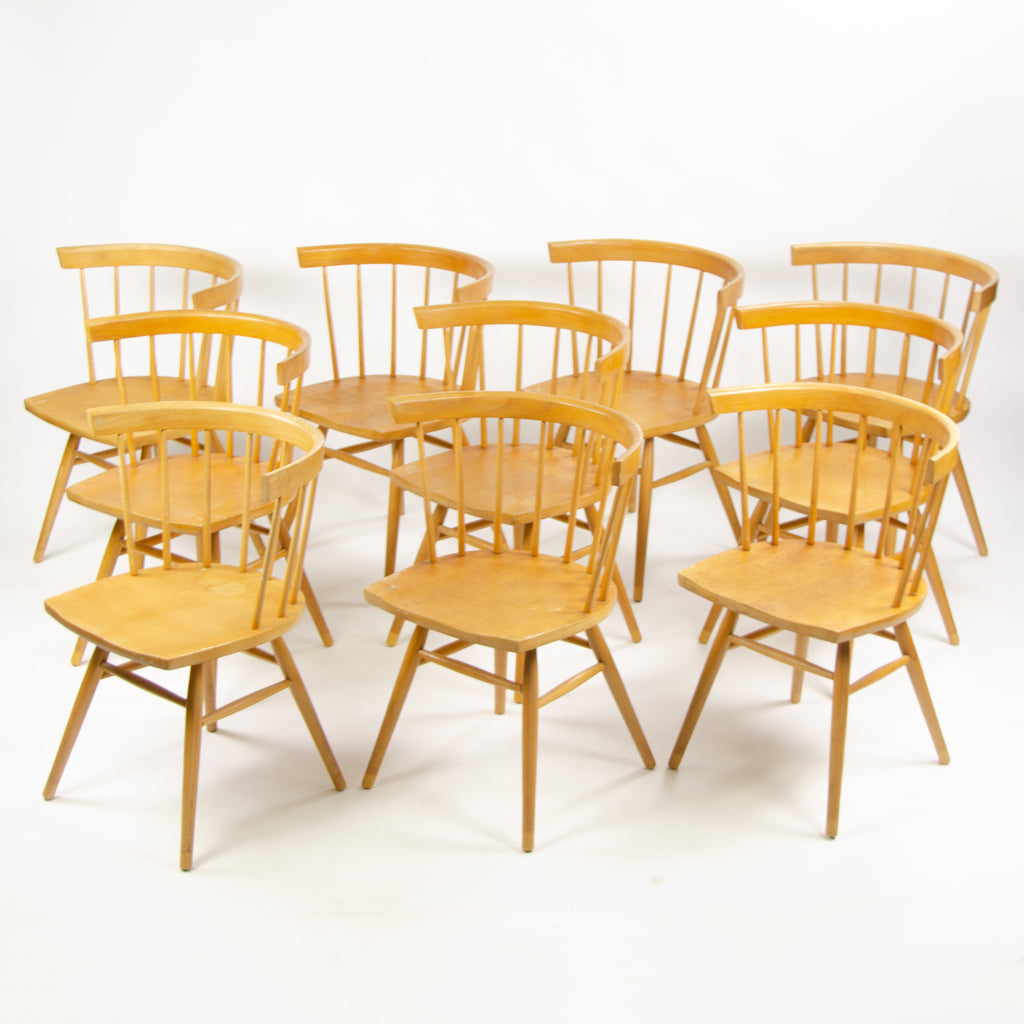 1947 George Nakashima Knoll Associates N19 Straight Dining Chairs Set of 10