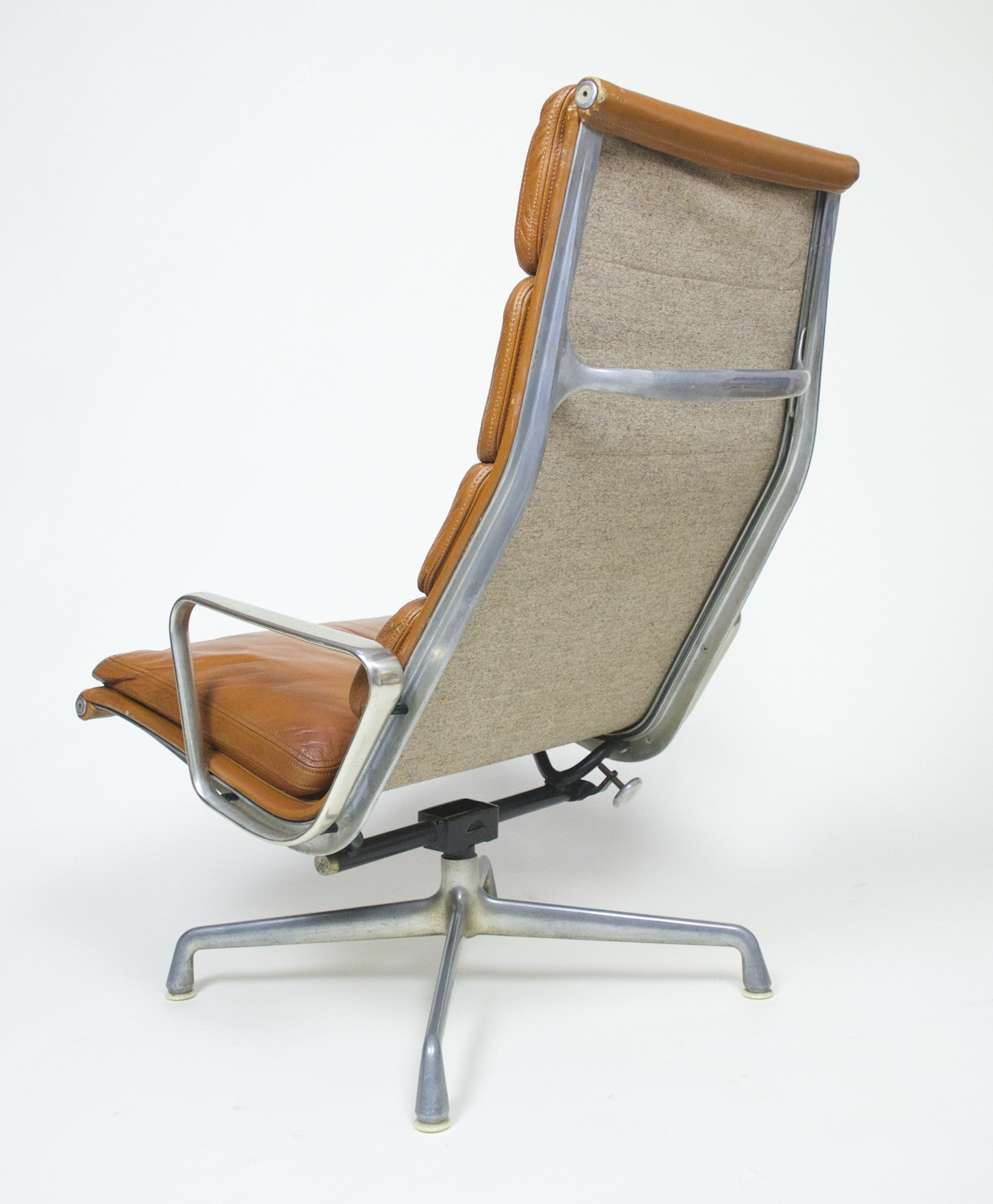 SOLD Eames 1970's Herman Miller Soft Pad Lounge Chair with Ottoman Cognac