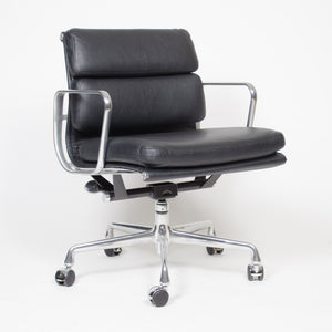 Eames Herman Miller Soft Pad Aluminum Group Chair Black Leather 12+ Avail MINT!