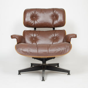 SOLD 1970's Herman Miller Eames Lounge Chair & Ottoman Rosewood 670 671 Brown Leather
