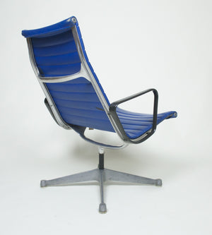 SOLD Eames Herman Miller Aluminum Group Lounge Chair, Near Mint and Blue