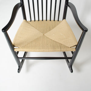 SOLD 1976 Hans Wegner J16 Black Rocking Chair Mobler FDB Denmark