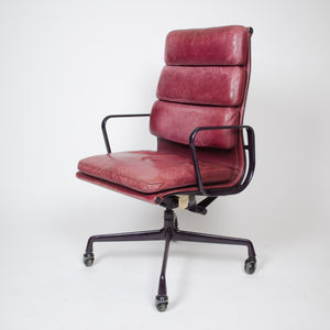 SOLD Leather Eames Herman Miller Soft Pad High Back Aluminum Group Chair 1985