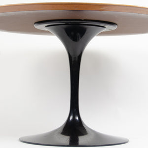 SOLD 2000's Eero Saarinen For Knoll Studio 54 Inch Tulip Dining Table Walnut Black