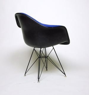 SOLD Eames Herman Miller Blue and Black Fiberglass Eiffel Tower Armshell Chair