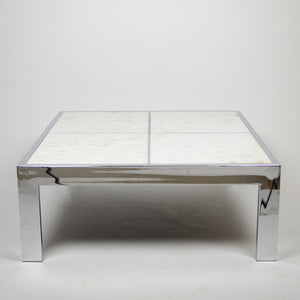 SOLD Leon Rosen for Pace Collection Portuguese Marble Coffee Table Chrome 1970's