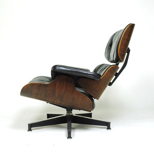 SOLD 1956 Herman Miller Eames Lounge Chair w Ottoman Boot Glides 3 Screws