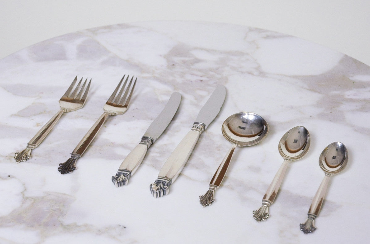 SOLD Georg Jensen Acanthus Luncheon 7 Piece Service For 12 Sterling Denmark 84 Pieces