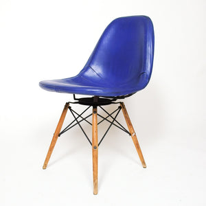 SOLD Eames Herman Miller PKW Original Swivel Dowel Wire Chair With Padded Cushion