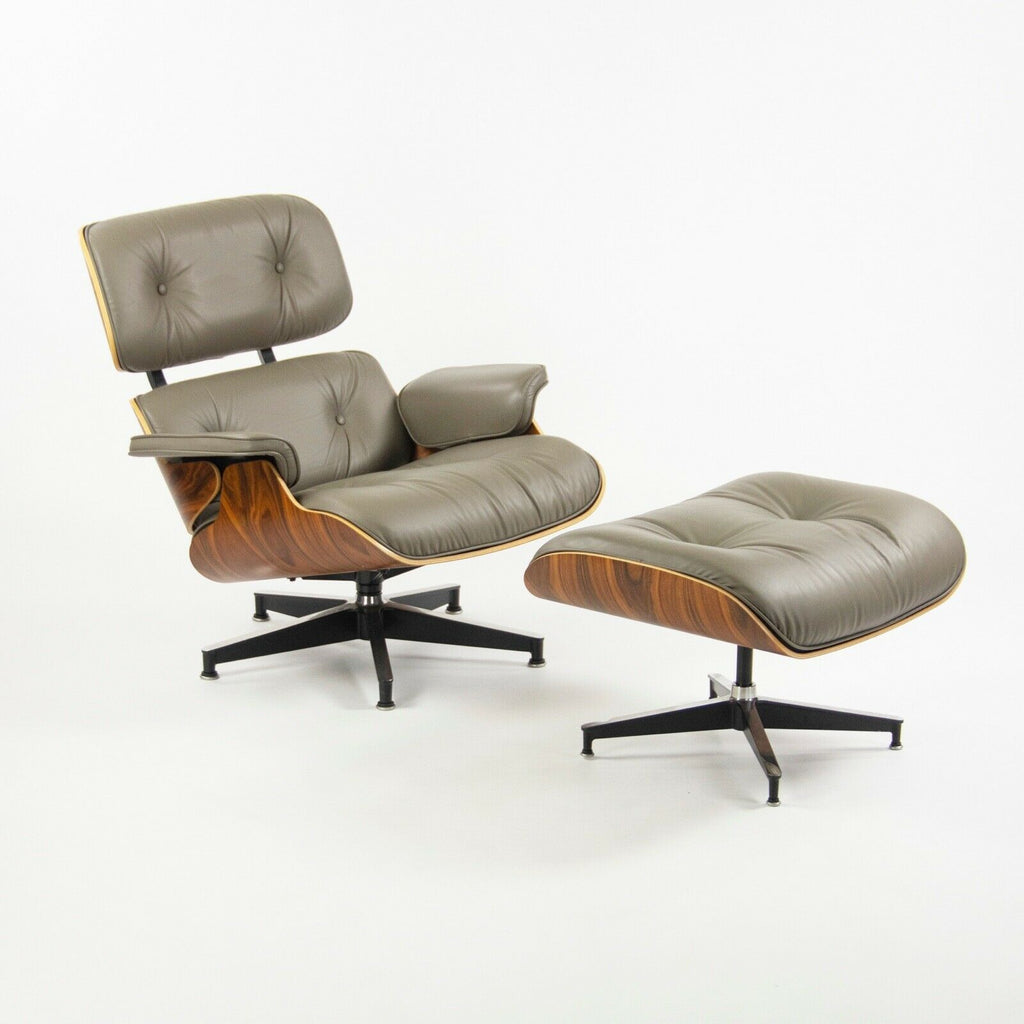 SOLD 2013 Herman Miller Eames Lounge Chair and Ottoman Palisander Greige Leather