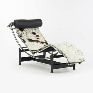SOLD 2010s Le Corbusier Perriand Jeanneret Cassina LC4 Chaise Lounge Chair Ponyhide