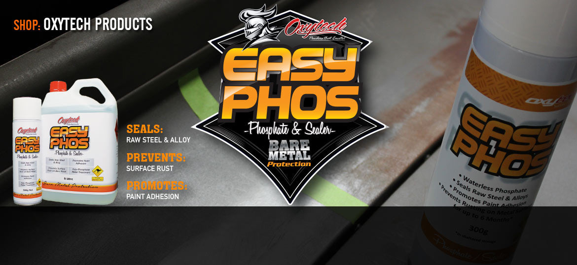 Want to seal your bare metal project but not quite ready for epoxy primer? Easy Phos waterless phosphate comes in 5 litre & 20 litre liquid bulk packs as well as a disposable aerosol product. It can be brushed, sprayed or dipped and is a perfect way to seal bare steel for up to 6 months.