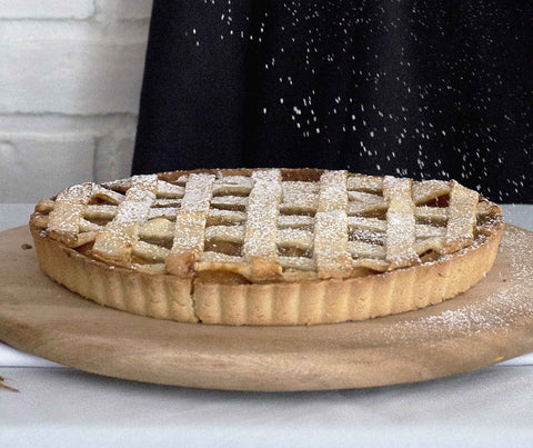 Apple Rhubarb Lattice Tart (whole tart). (YS020)