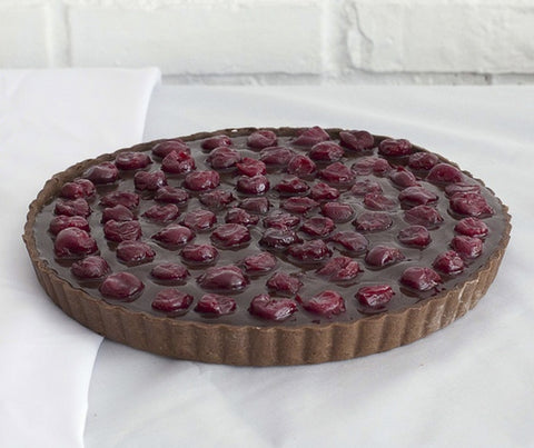 Dark chocolate cherry flambee tart (whole tart). (YS017)
