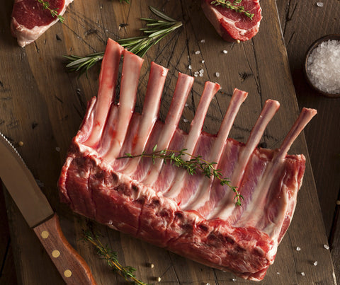 Australian Lamb Rack Frenched Cap Off. 800g approx. (JW021).
