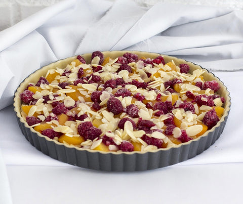 Peach Raspberry Frangipane Tart (whole tart). (YS019)