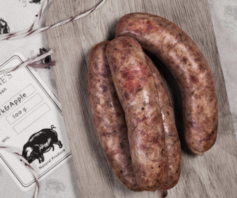 Sloane's Pork & Apple Sausages. Gluten free.  500g. (SL027)