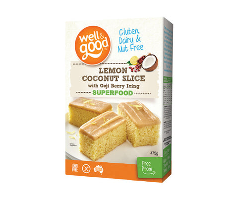 Gluten Free Lemon & Coconut Slice with Goji Berry Icing. 475g. (SSL08)