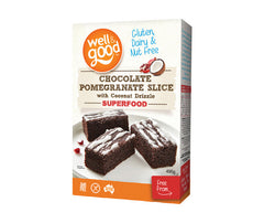 Gluten Free Chocolate Pomegranate Slice with Coconut Drizzle. 495g. (SSL12)