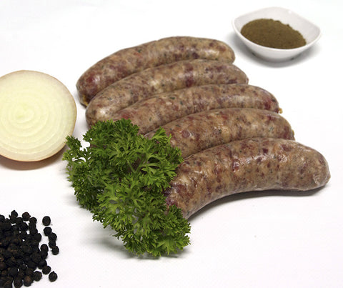 Really Good Sage & Onion Pork Dinner Sausages. Gluten free. 500g. (SUN04)
