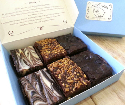Sticky Piggy Premium Brownies - Set B (6pcs). 360 grams. (STPG002)