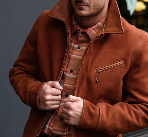 Aero Leather Clothing Majestic Jacket - Rust Goat Suede