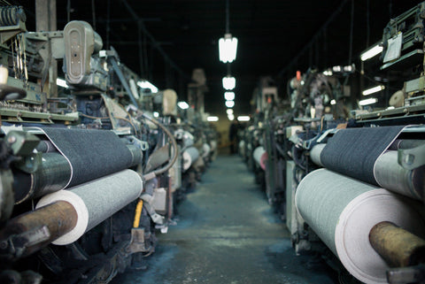 Shuttle looms slowly weaving high quality fabric in Japan