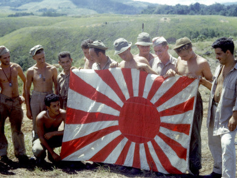 American Soldiers Holding Captured Japanese Flag