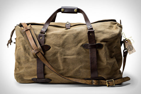 A well used Filson Duffle Bag