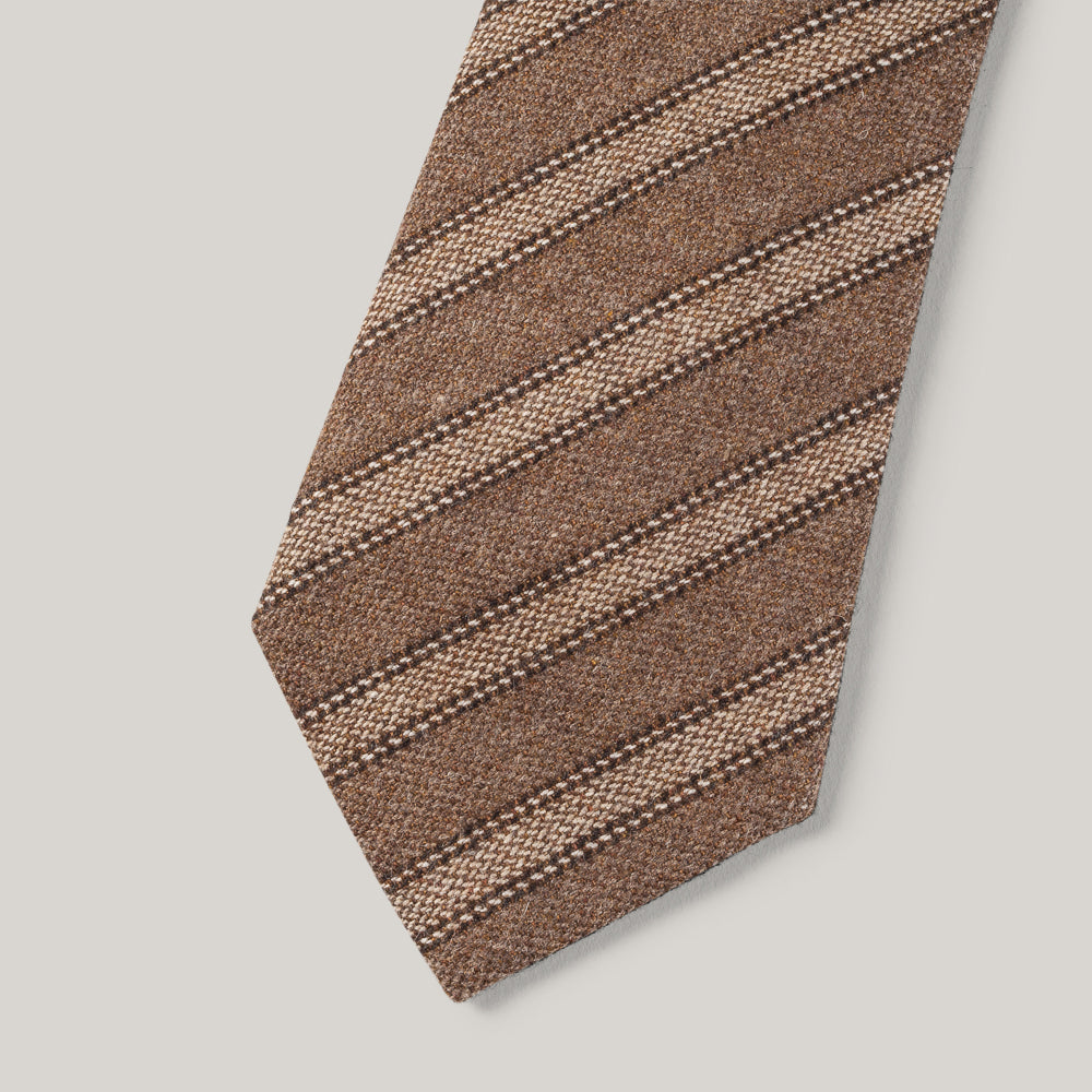 TS(S) WOOL BLEND ALTERNATIVE STRIPE NECK TIE - BEIGE