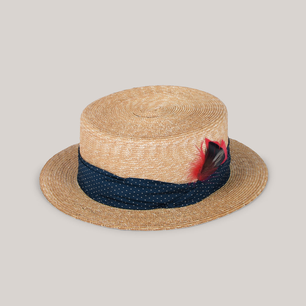 H.W. DOG & CO. BOATER - NAVY/WHITE SPOT