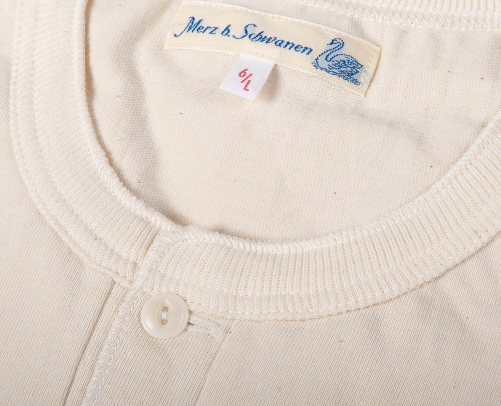 MERZ B SCHWANEN 204 RELAXED HENLEY SHIRT - NATURAL -