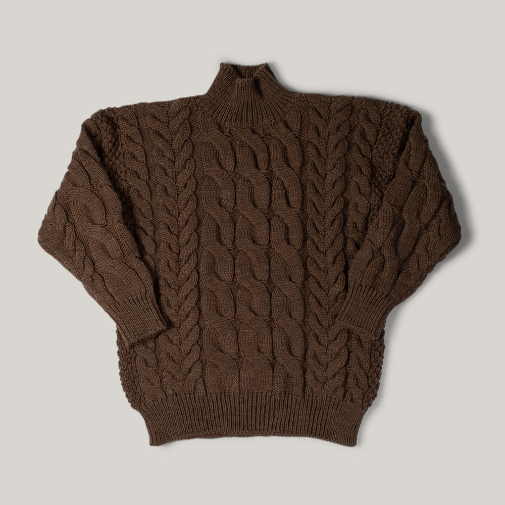 LENO BIG CABLE SWEATER - BROWN